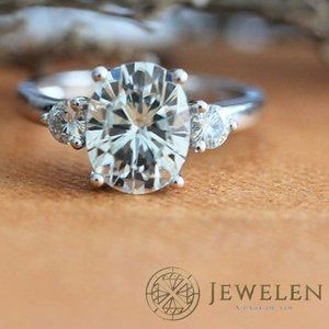 Oval White Moissanite 3 Stone Sterling Silver Ring